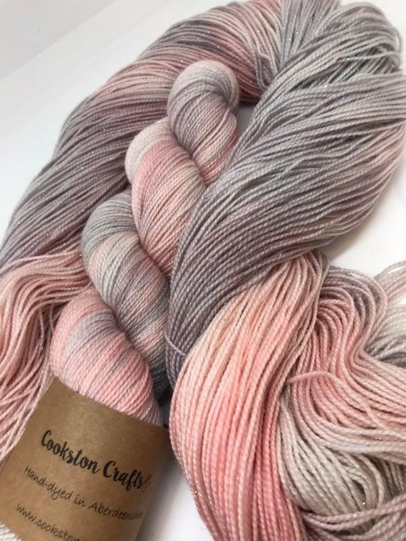 Wedding Belle - 100g 75/20/5% Superwash Merino/ Nylon / Silver Stellina, sock fingering 4 ply yarn, hand dyed in Scotland, blush pink grey