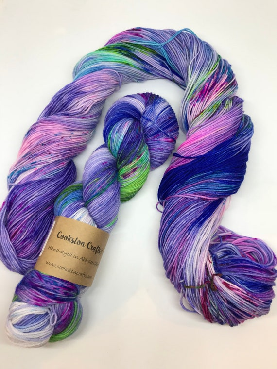 Ozzie - 100g Superwash Merino / Nylon Sock Yarn 4 ply, fingering, hand dyed in Scotland, Blue, Purple, Green, Pink Speckles