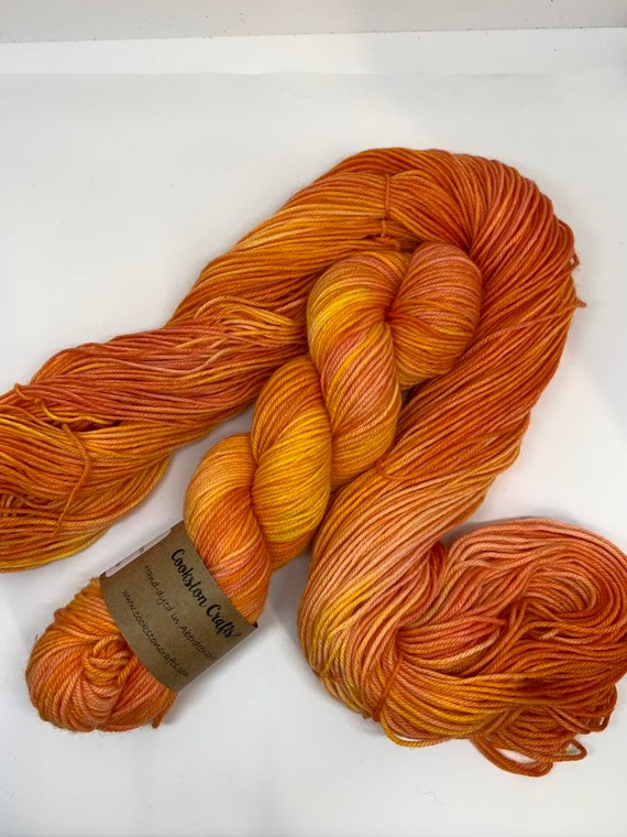 Satsuma - 100g 75/25% Superwash Merino/ Nylon , DK double knit yarn, hand dyed in Scotland, orange yellow tonal