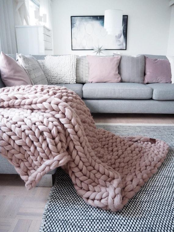 Chunky tricot couverture de laine de mérinos extra douce   Etsy e647ec89f32