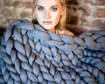 Chunky Knit Blanket, Premium Merino Wool Blanket, Chunky Knit Throw, Arm Knit Blanket, Chunky Blanket, Christmas Gifts