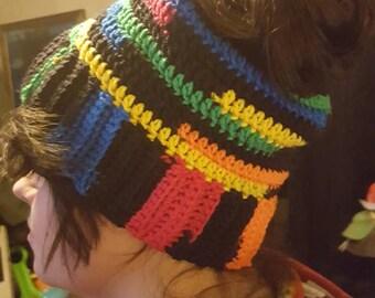 Messy bun ponytail hat beanie