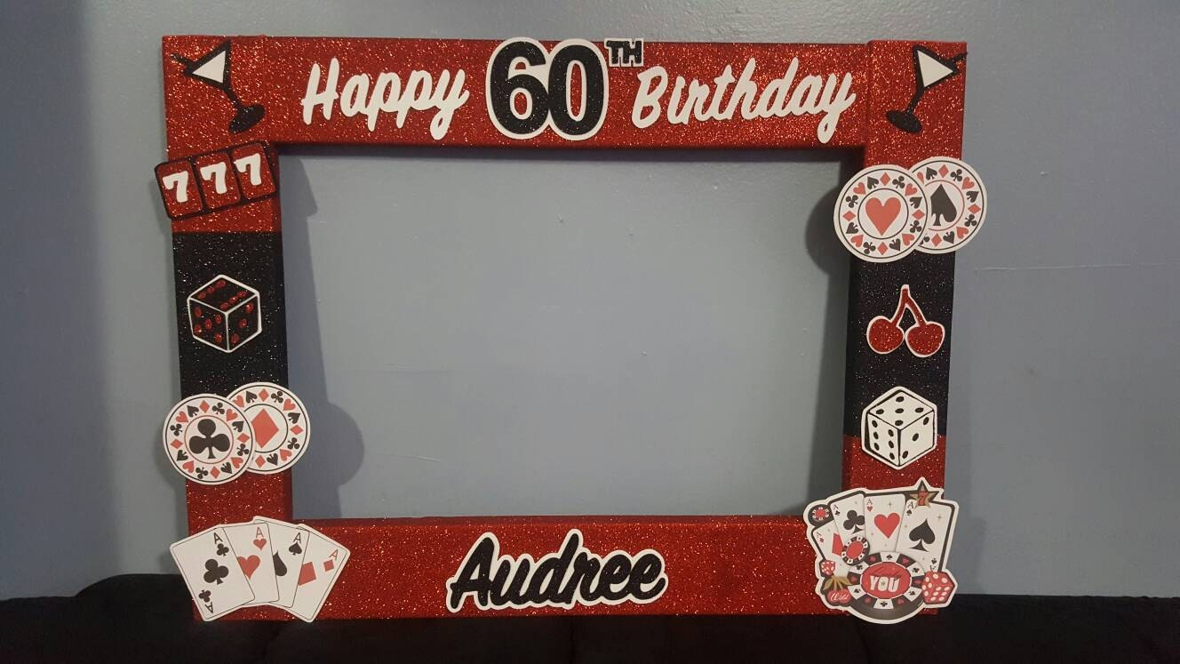 40th 50th 60th Casino Birthday party photo booth Frame Las | Etsy