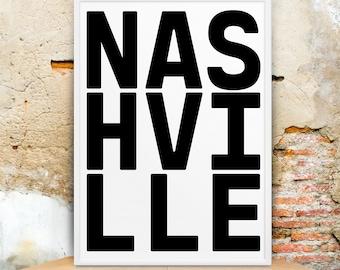 Nashville, Tennessee Home, Nashville Signs, Nashville Printable, Nashville Wall Art, Wall Art Print, Travel Poster, Typographic, Download