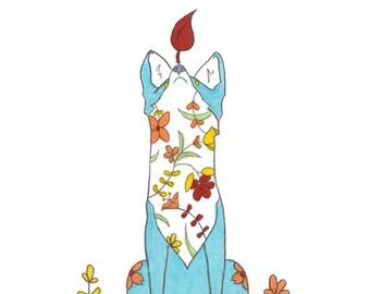 Whimsical Giclée Floral Fox Art Print Animal Art Illustration Handmade