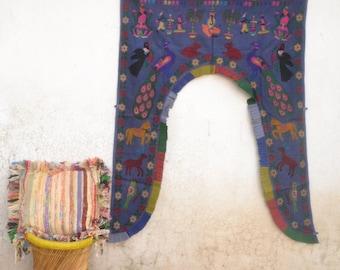 Vintage Indian door flame, Bohemian wall decor, ethnic door hanging, hobo door valance, Gujatrati, Rajkot, Yoga studio, embroidery, Ganesha