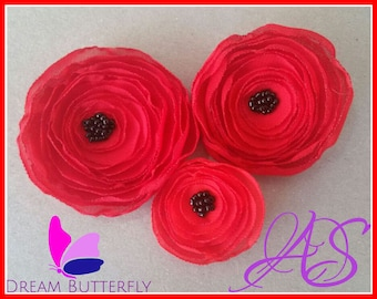 How to Make Fabric Flower with Beaded Center - Instant Download PDF Fabric Flowers Photo Tutorial Pattern DIY crafting supplies
