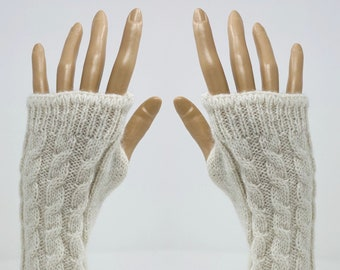 Alpaca Wrist Warmers, Fingerless Gloves, Texting Gloves, Long Gloves, Alpaca Driving Gloves, No Finger Long Gloves, One Pair, Gift for Women