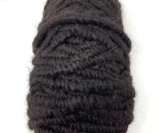 Alpaca Rug Yarn, All Natural Black Alpaca Core Spun Yarn for Weaving, Pegloom Rug Yarn, Big Needle Knitting Yarn, Crochet or Crafting Yarn