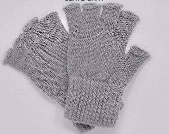 Alpaca Fingerless Gloves in Slate Grey, Alpaca Texting Gloves, Alpaca Sport Gloves, Gift Idea
