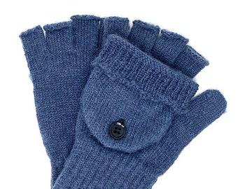 Alpaca Convertible Glittens, Blue, Grey, Gloves and Mittens, Convertible Texting Gloves, Driving Gloves, Winter Gloves, One Pair, Gift Idea