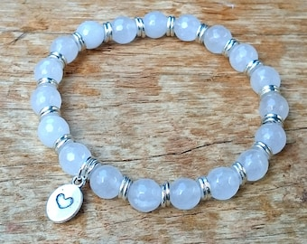 Precious Heart Collection Handmade White Jade Bracelet + Gift Pouch