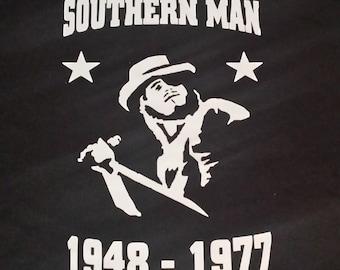 Lynyrd Skynyrd Ronnie Van Zant Southern Man Music Tribute Custom Black  NovelTee Shirt b8fb80d0094a2
