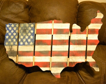 USA, hand painted, wood art, map, flag of the United States, red white and blue