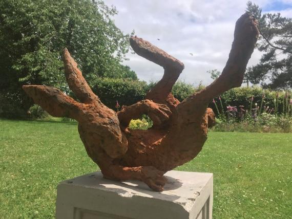 Large Rusty Iron Hare Sculpture Hare Garden Sculpture Iron Etsy