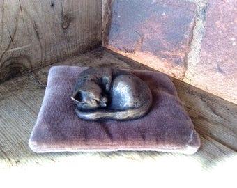 Curled up Cat -  bronze resin sculpture
