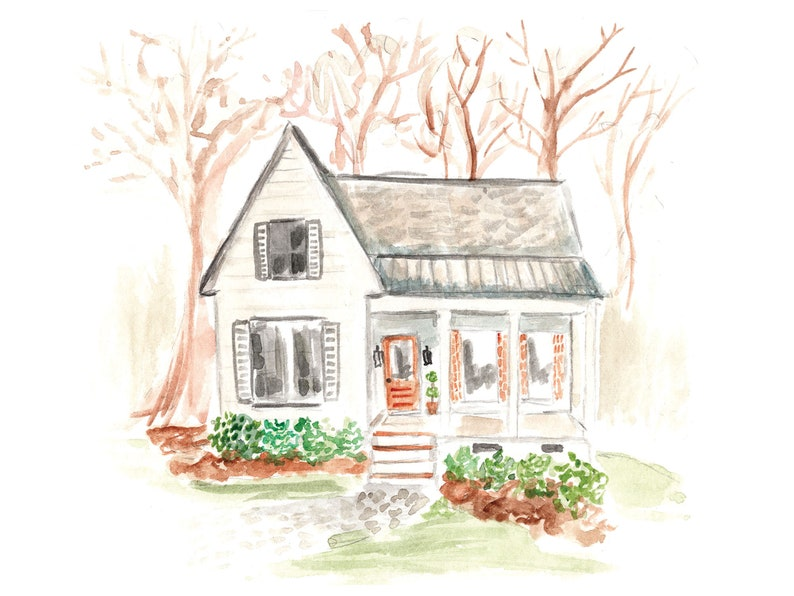 Custom Watercolor Home Painting The Peacherie image 0