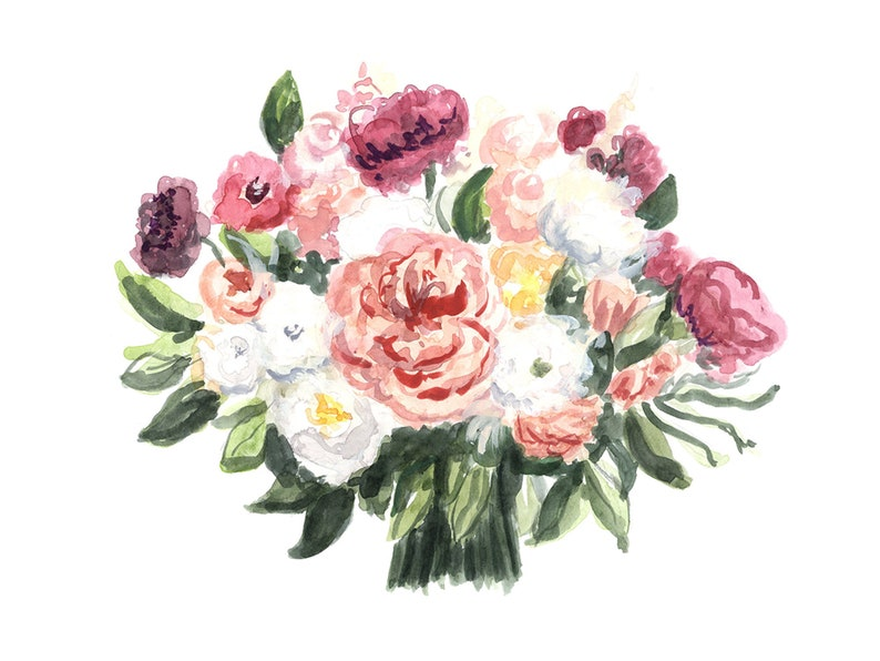 Custom Watercolor Wedding Bouquet The Peacherie image 0
