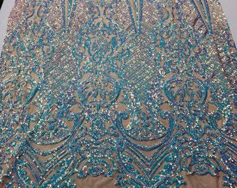 93f261e7d07211 4 Way Stretch Iridescent Aqua Sequins Fabric - By The Yard - Embroidered  Mesh Sequin For Dress Top Fashion Prom Fabric Bridal Wedding