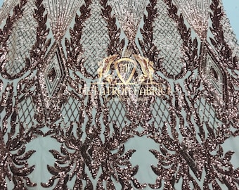NEW Rose Gold Sequins Fabric - Sequin On A Mesh 4 Way Stretch For Dress Top  Fashion Prom Fabric Night Gown Clothing By The Yard a8e68465e6e5