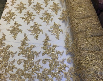 GOLD Lace Fabric - Corded Flowers-Floral Embroidery With Sequins For Wedding  Dress Bridal Veil French Lace Fabric By The Yard 7d69c41b1ca8