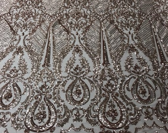 6d41358df6d Sequins Fabric 4 way Stretch - Rose Gold Embroidered Mesh Lace For Dress  Top Fashion Bridal Wedding Decoration By The Yard