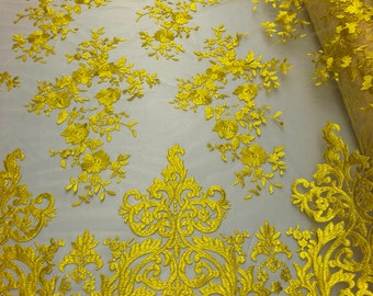 d55a9e279e1 2 Way Stretch Fabric By The Yard - YELLOW - Embroider Lace Mesh  Flower-Floral For Dress Bridal Veil Wedding Fabric Home Decoration