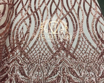 6bc689a16a New Rose Gold Royalty 4 Way Stretch Fabric - Sequins Fabric Embroidered On  A Power Mesh Dress Top Fashion Prom Wedding Bridal By The Yard