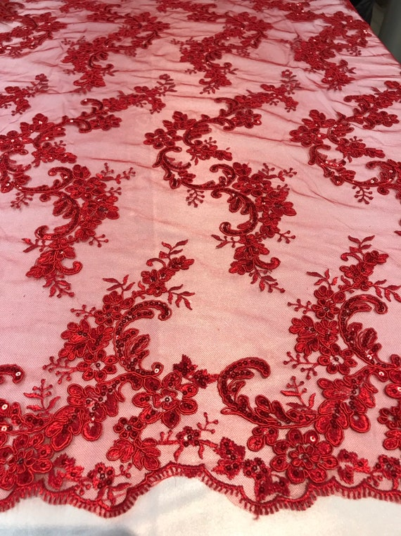 Hunter Green Lace Fabric By The Yard Corded Flowers Embroidery With Sequins On A Mesh For Wedding Dress Bridal Veil