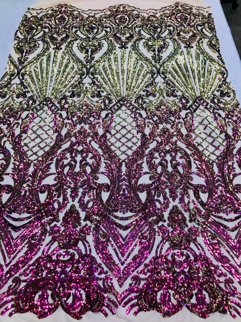 NEW Iridescent Purple Sequins On A Mesh 4 Way Stretch Nude Mesh For Dress Top Fashion Prom Fabric Night Gown Clothing By The Yard
