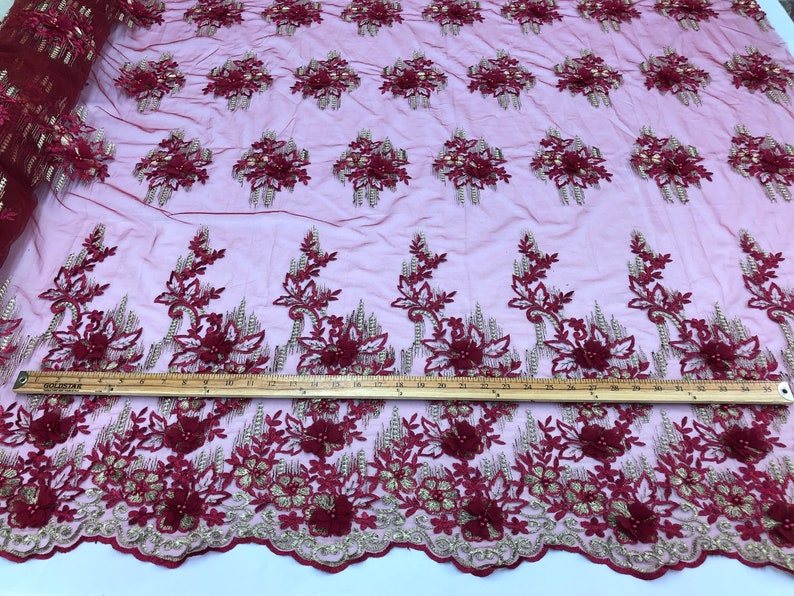 2 Tone Burgundy-Gold Lace Fabric Embroidery 3D Flower For Trimming Wedding Dress Pearl With French Lace Metallic Tread Trim By The Yard