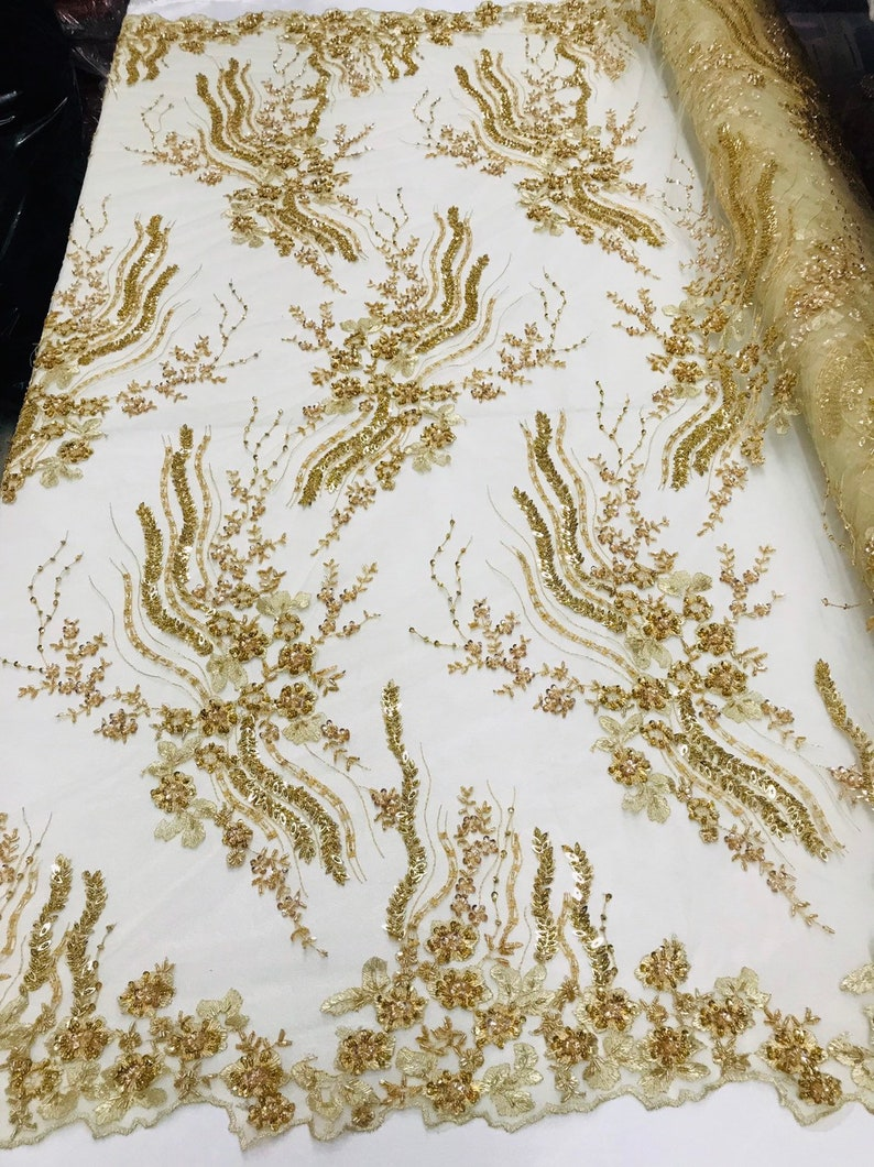 GOLD Beaded Lace Fabric Handmade Bridal Veil WeddingEvening Dress Lace Fabric-Prom-Gown 51/'/' Width Sold By Yard