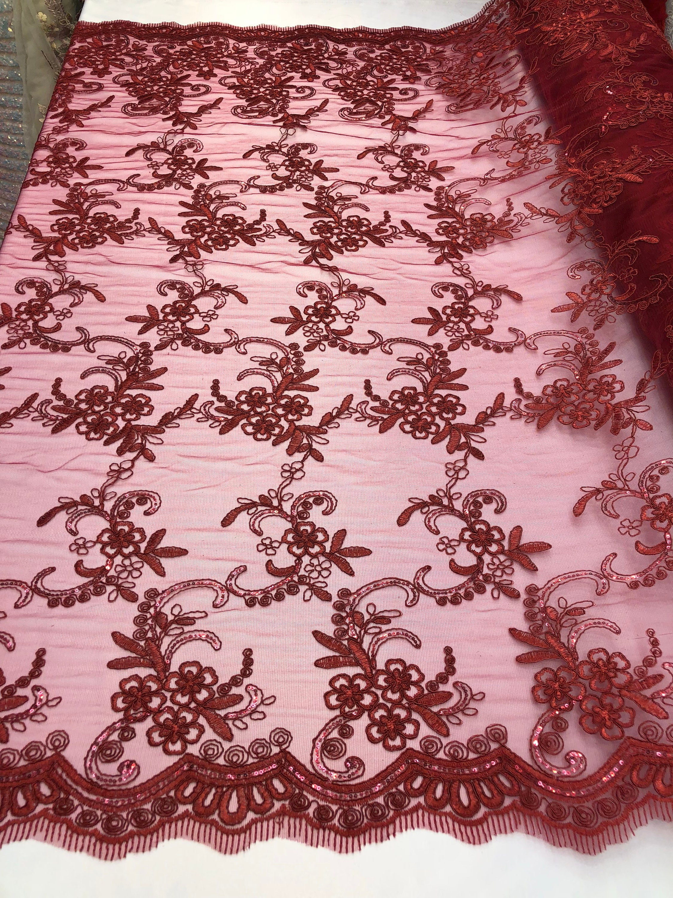 Lace fabric Corded Flowers Embroider With Sequins On Mesh Red By The Yard