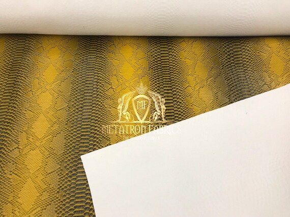 Vinyl Fabric Gold Faux Viper Snake Skin Leather Upholstery-3D Scales The Yard.