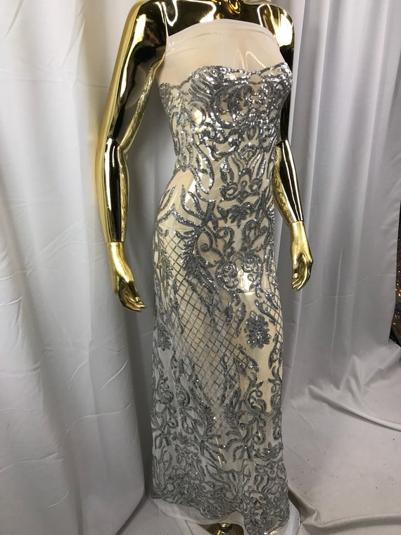 Gold 4 Way Stretch Sequin Fabric Mesh Lace Fashion Dress Prom-Gown By The Yard