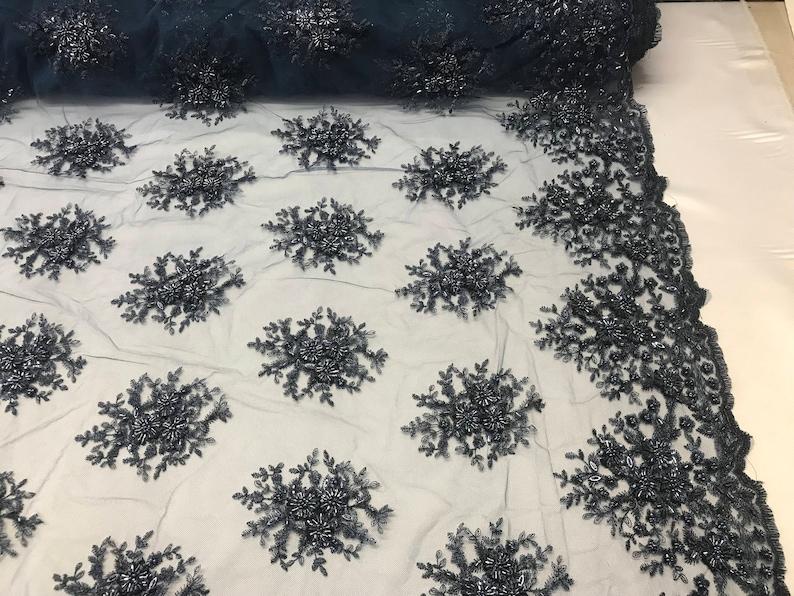 Navy Gaviota Design Embroider Beaded Mesh Dress Wedding Decoration Bridal Veil Nightgown By The Yard Lace Fabric