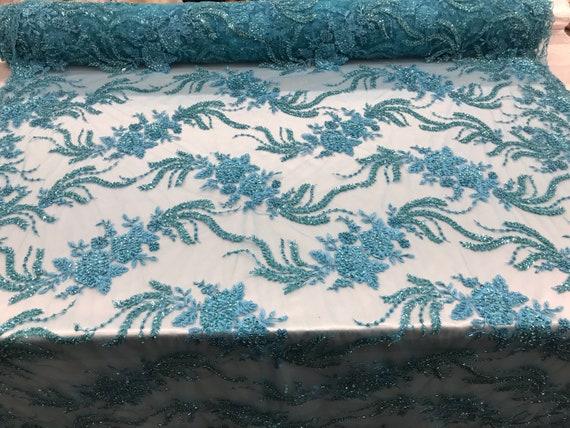 Tissu perlé - dentelle Turquoise par la la par Cour brodé dentelle Wiht perles et Sequins Français mariée voile de mariage décoration de maison 6a859b