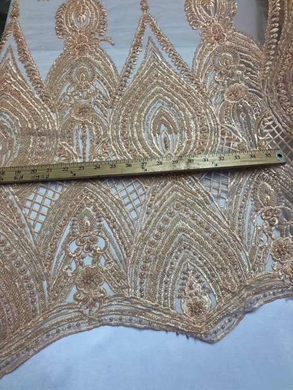 Pêche perlé-brodée lourd tissu perlé-brodée Pêche de perles avec des paillettes sur une maille dentelle pour mariée voile / / Prom/robe/décorations de mariage par la Cour 545acf