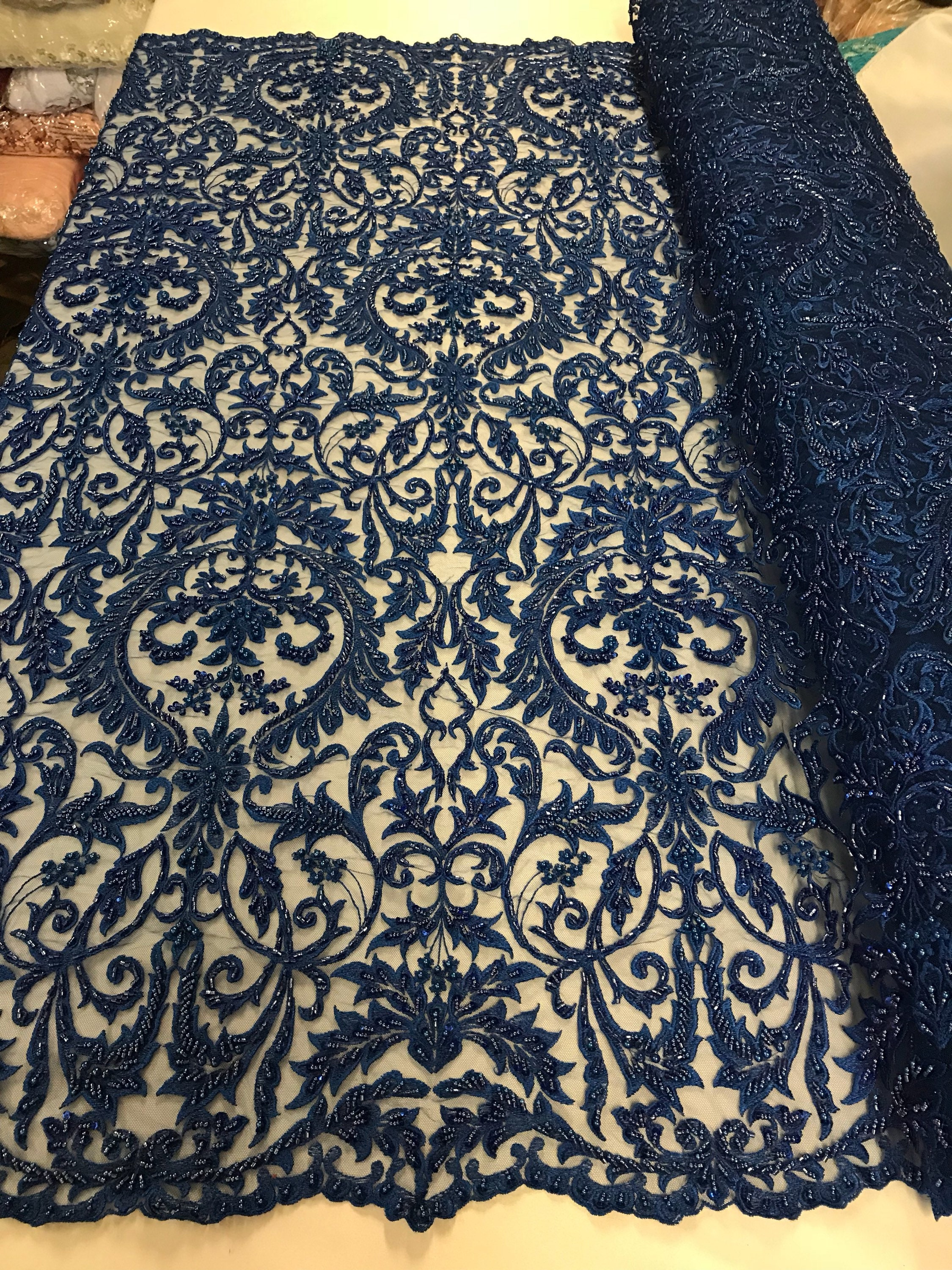 Embroidered Beaded Mesh Bridal Veil R-Blue Wedding By The Yard Fabric Lace