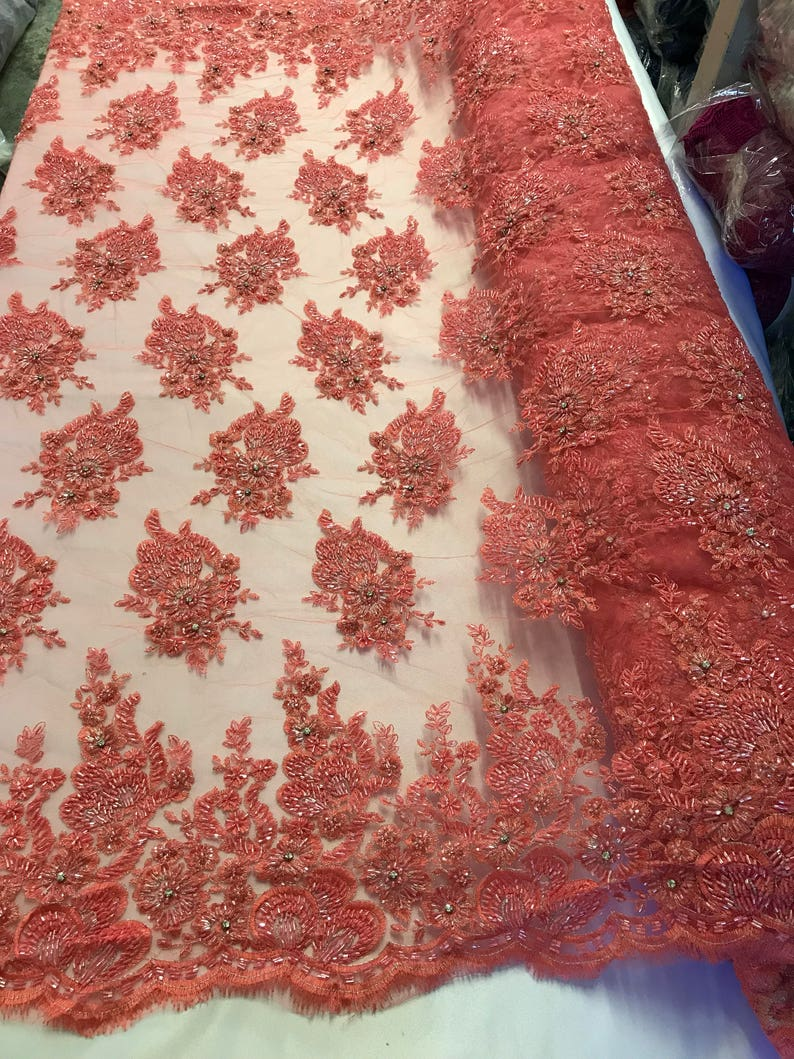 Coral Bridal Beaded Hand Embroidered With Basins And Diamonds For Veil Mesh Dress Top Wedding Decoration By The Yard