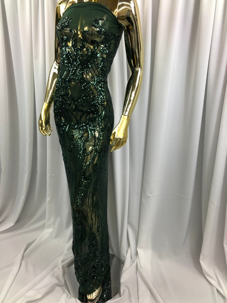 4 Way Stretch Sequins Fabric HUNTER GREEN Embroidered On A Mesh Lace Fabric For Dress Top Fashion-Prom-Fabric-Lace-Gown By The Yard