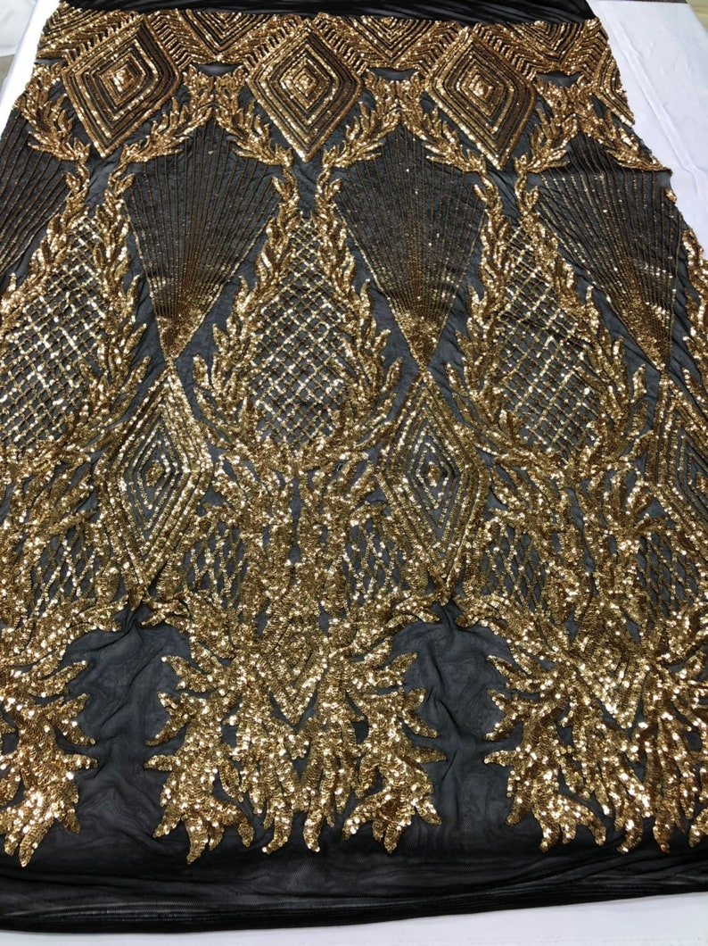 4 Way Stretch Sequins Fabric GOLD By The Yard Embroidered On Black Mesh Lace Fabric For Dress Top Fashion-Prom-Fabric-Lace-Gown