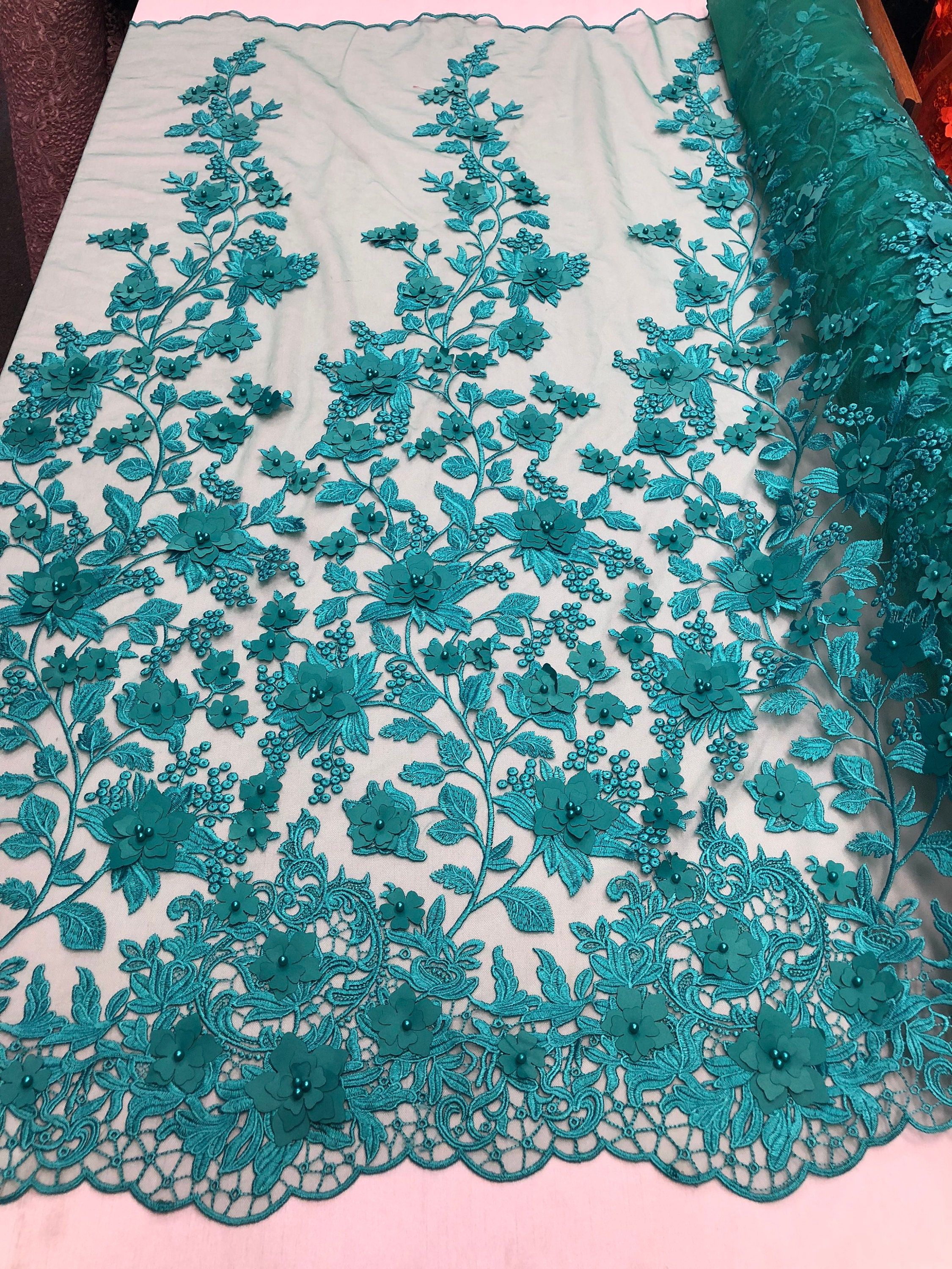 Wedding Pearls Aqua Flower Mesh Dress /& Birdal Veil By The Yard Lace fabric