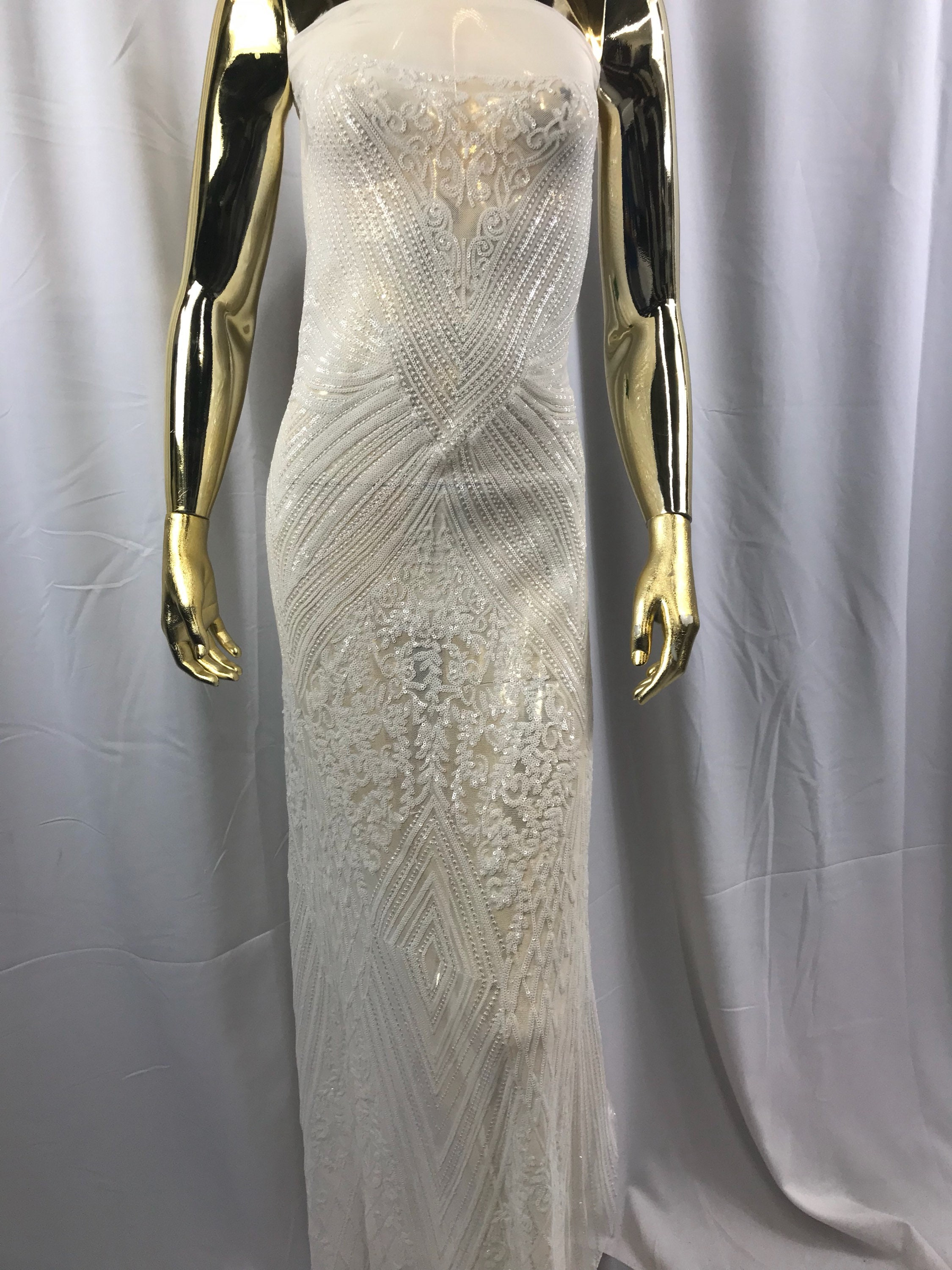 2abfed3569c 4 Way Stretch Fabric - Ivory Embroidered Sequins Lace Fashion Dress Bridal  Veil Wedding Decoration By The Yard