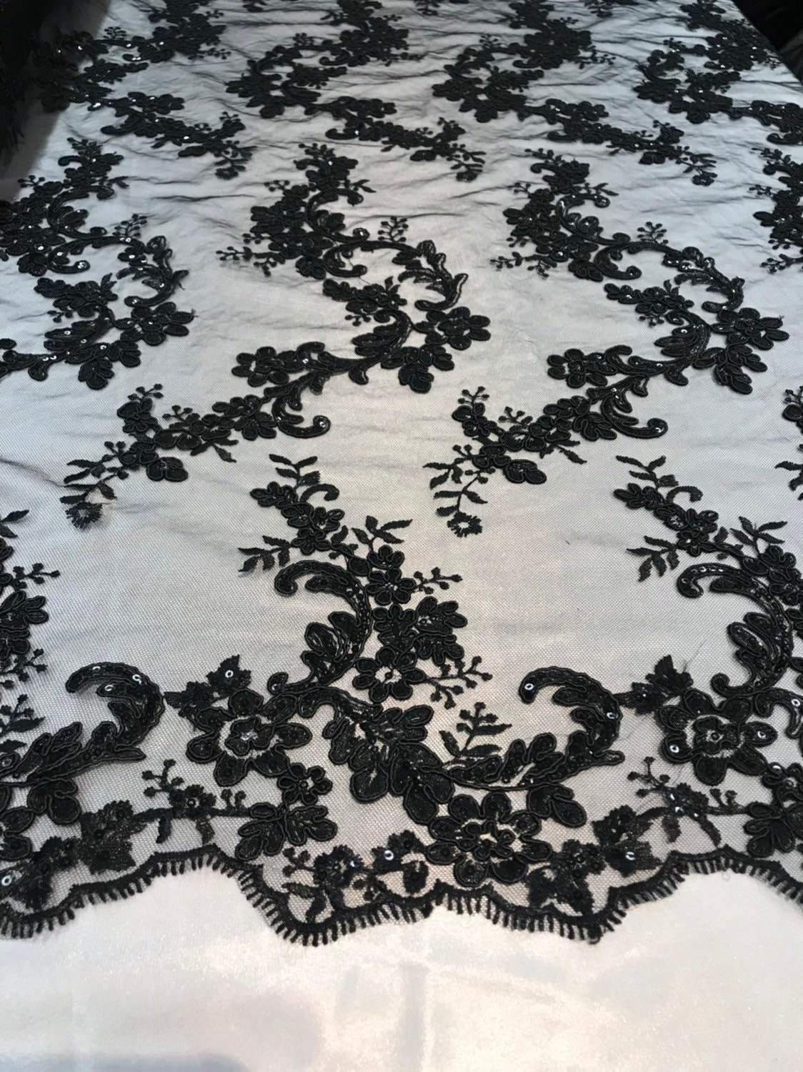 Black Flower Lace Corded And Embroider With Sequins On A Mesh-bridal-by the yard