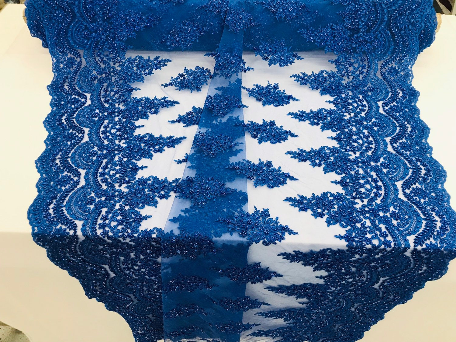 Royal Blue Beaded Fabric Embroider On A Mesh Lace-Bridal-Wedding-Prom By Yard