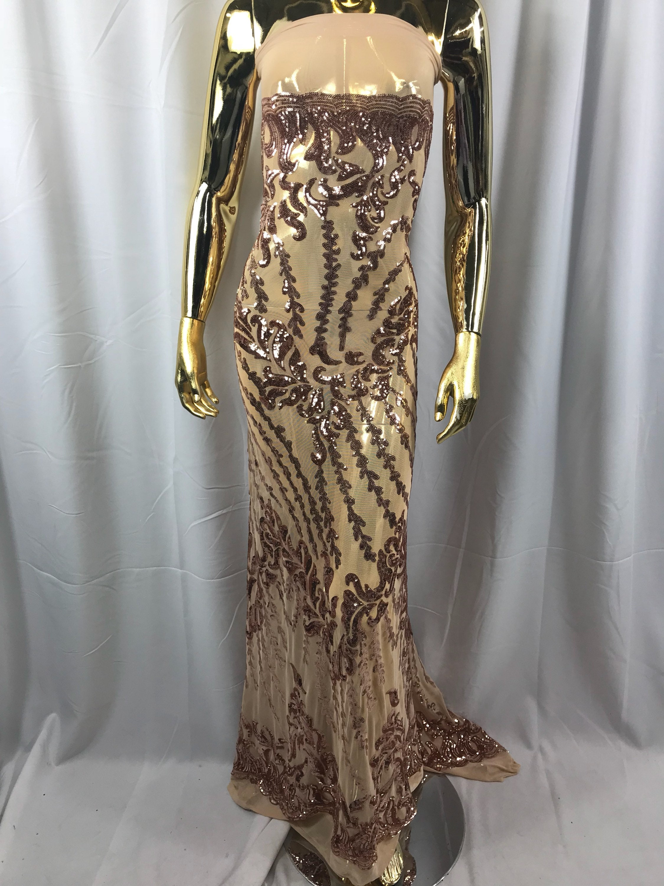 5a2a7d93f95 4 Way Stretch Fabric - Champagne Embroidered Sequins Lace Fashion Dress  Power Mesh Wedding Decoration By The Yard