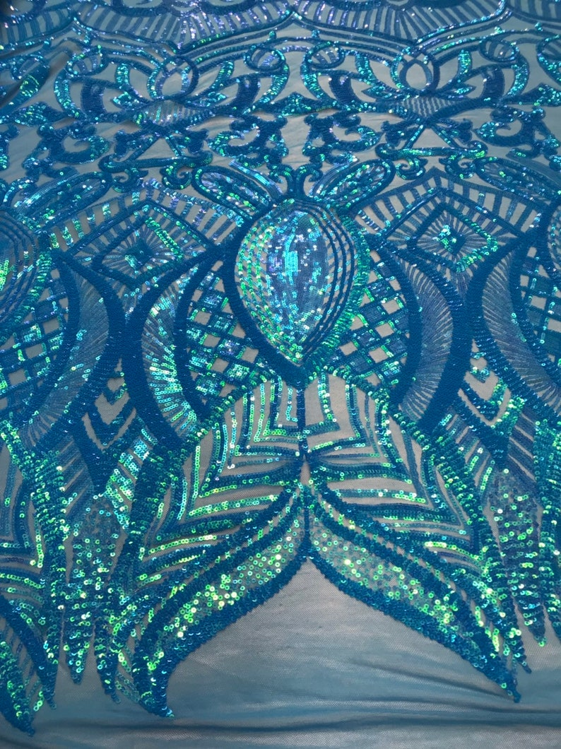 Iridescent Turquoise 4 Way Stretch Sequins Fabric Embroidered Mesh Sequin For Dress Top Fashion Prom Fabric Bridal Wedding By The Yard
