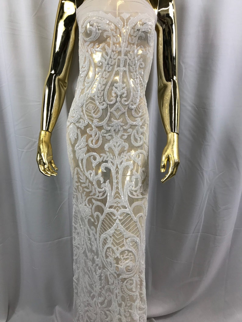 87a34156775 4 Way Stretch Fabric Sequins By The Yard White Embroidered