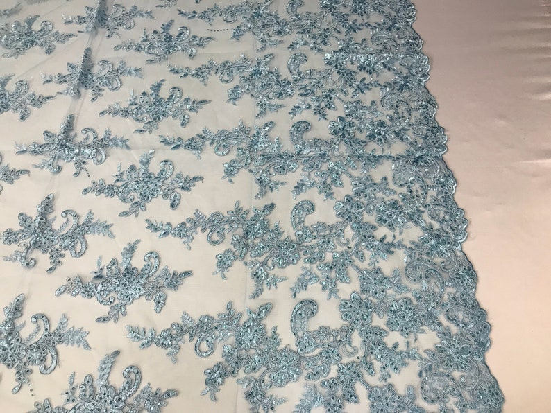 Corded Flowers-Floral Embroidery With Sequins For Wedding Dress Bridal Veil French Lace Fabric By The Yard Baby Blue Lace Fabric